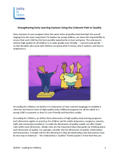 Strengthing Early Learning Systems